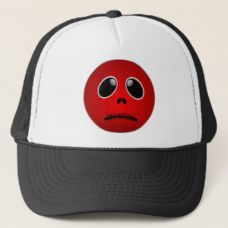 Black & Red Smiley Face, Stitched Frown Trucker Hat