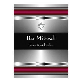 Black Red Star of David Bar Mitzvah 5.5x7.5 Paper Invitation Card