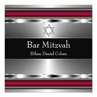 Black Red Star of David Bar Mitzvah Invites