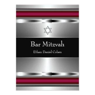 Black Red Star of David Bar Mitzvah Custom Invites