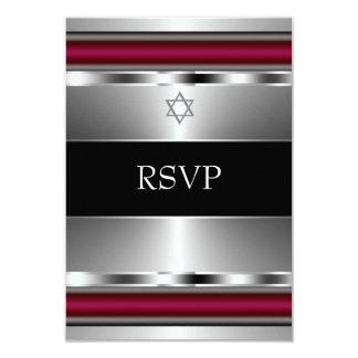 Black Red Star of David Bar Mitzvah RSVP 3.5x5 Paper Invitation Card