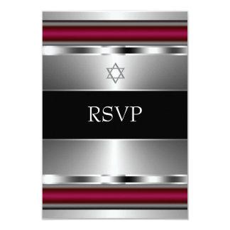 Black Red Star of David Bar Mitzvah RSVP Card
