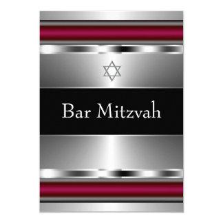 Black Red Star of David Bar Mitzvah Template 5x7 Paper Invitation Card