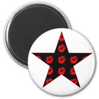 Black & Red Star of Kisses 2 Inch Round Magnet