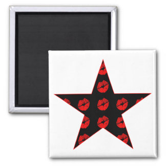 Black & Red Star of Kisses 2 Inch Square Magnet