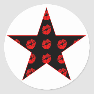 Black & Red Star of Kisses Classic Round Sticker
