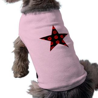 Black & Red Star of Kisses Dog T Shirt