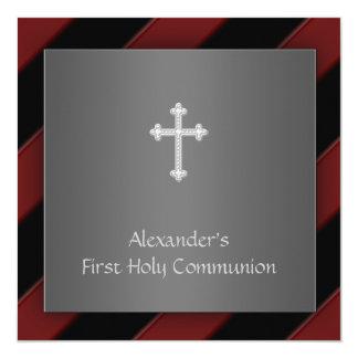 Black Red Stripe Boy First Communion Invitation