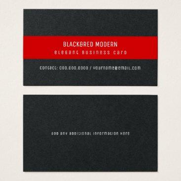 Professional Business black&red stripe modern elegant pro business card