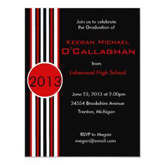 Black & Red Striped Graduation Party Invitation