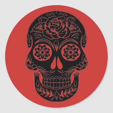 Halloween Themed Black & Red Sugar Skull/Day of the Dead Stickers