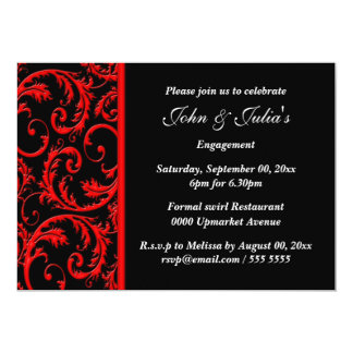 Black red swirl engagement anniversary PERSONALIZE 5x7 Paper Invitation Card