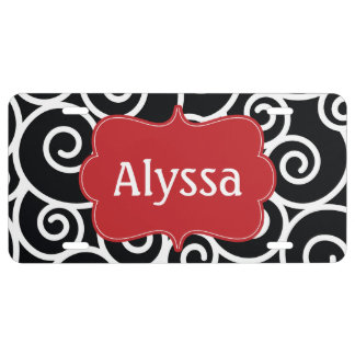 Black Red Swirl Personalized License Plate