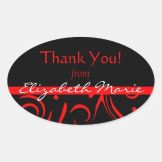 Black & Red Swirls-Name Oval Sticker