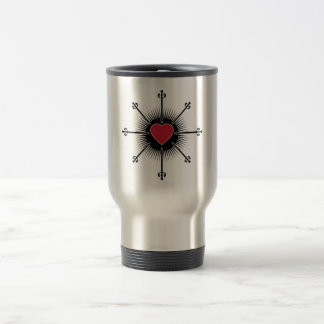 BLACK RED SWORDS HEART LOVE MEDIEVAL GRAPHICS ICON TRAVEL MUG