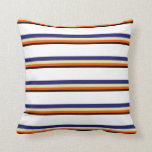 [ Thumbnail: Black, Red, Tan, Midnight Blue, and White Colored Throw Pillow ]