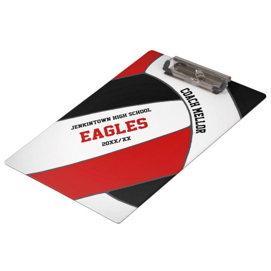 black red team colors volleyball coach clipboard