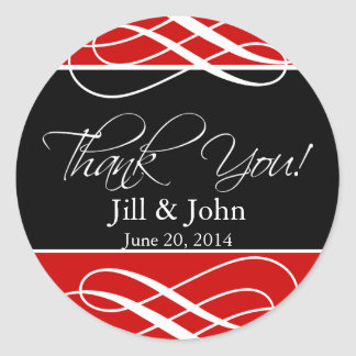 Black Red Thank You Wedding Favour Label Sticker