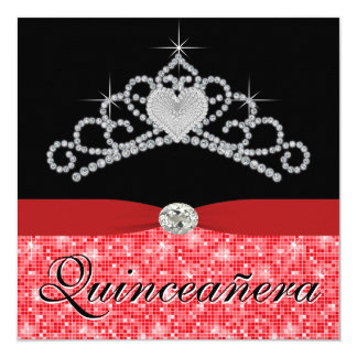 Black Red Tiara Black Red Quinceanera Card
