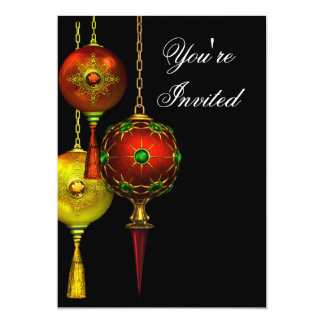 Black Red Tree Ornaments Christmas Party Card