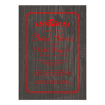 Black Red Vintage Barn Wood Bridal Shower Invites