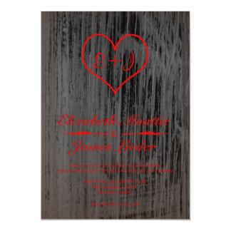 Black & Red Vintage Burlap Wedding Invitations