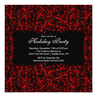 "Black & Red Vintage Holiday Party Invitation 5.25"" Square Invitation Card"