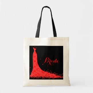 Black & Red Vintage Lace Wedding Dress Budget Tote Bag