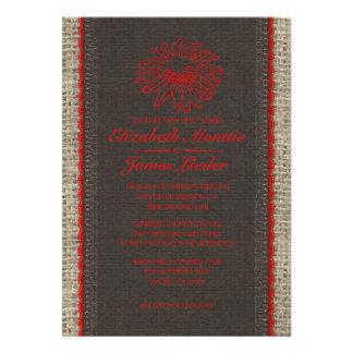 Black Red Vintage Lace Wedding Invitations Custom Invitation