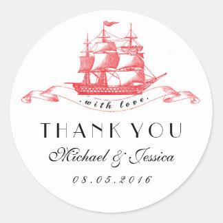 Black Red Vintage Ship Wedding Thank You Sticker