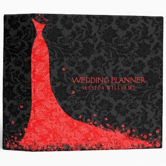 Black & Red Wedding Dress & Vintage Lace 3 Ring Binder