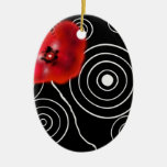 Black-red Weis ceramic(s) ornamentation oval Christmas Ornament