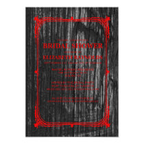 Black Red Western Barn Wood Bridal Shower Invites