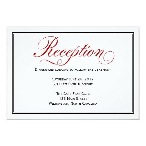 Black red white calligraphy wedding reception card zazzle for Wedding invitation cards ulhasnagar