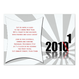 Black, Red, White Countdown New Years Eve Party 5x7 Paper Invitation Card