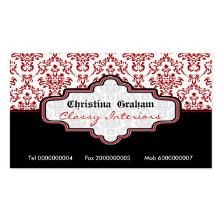 Black red white damask interiors business card business card