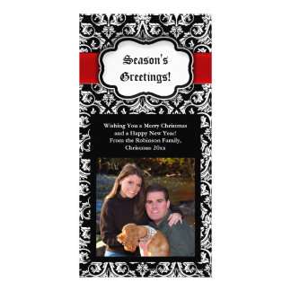 Black/Red/White Damask Season's Greeting Photocard Card