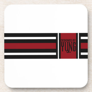 Black Red White Elegant Stripe Coaster