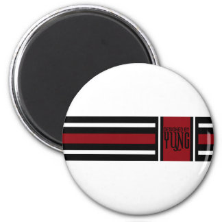 Black Red White Elegant Stripe Magnet