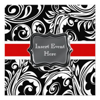 Black red white engagement wedding personalized invitations