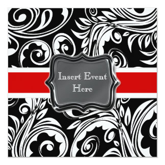 "Black red white engagement wedding 5.25"" square invitation card"