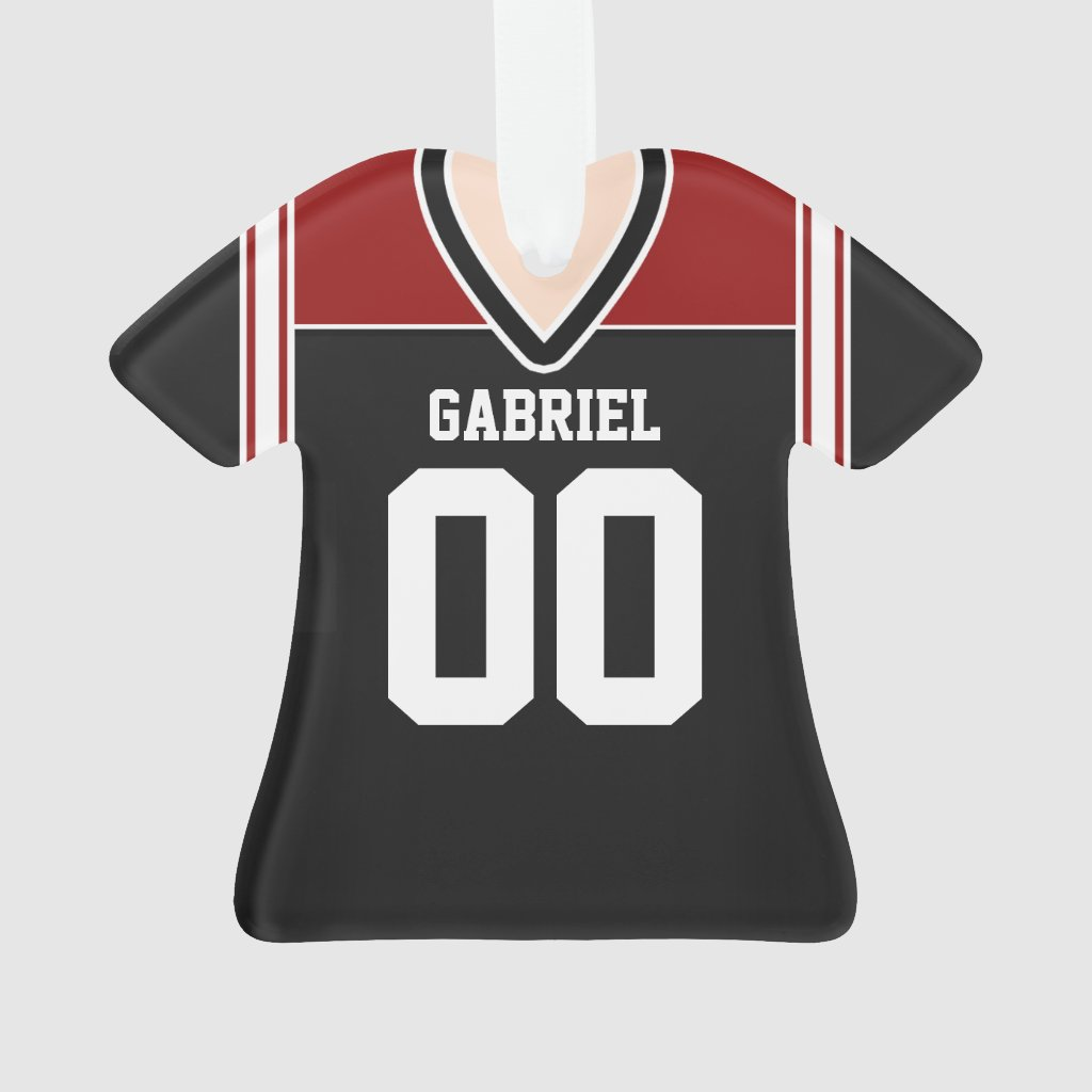 Black/Red/White Football Jersey Ornament
