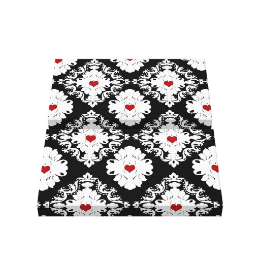 black red white hearts romantic  damask gallery wrapped canvas