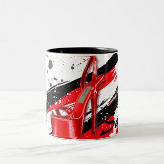 Black, Red & White Hot High Heels Two-Tone Coffee Mug