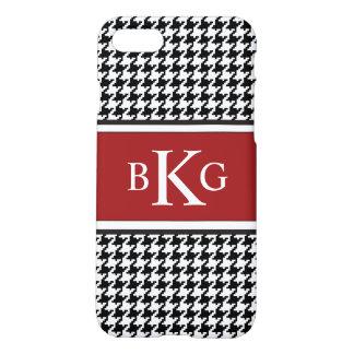 Black Red White Houndstooth Pattern Monogram iPhone 8/7 Case