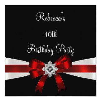 "Black Red White Jewel Bow 40th Elegant Birthday 5.25"" Square Invitation Card"