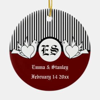Black, red, white loving doves initials ornament