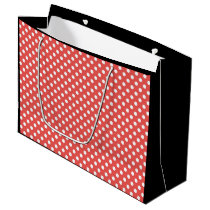 Black, Red & White Polka Dot Retro Gift Bag