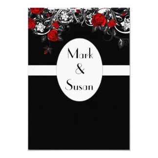 Black Red White Rose Wedding Invitation