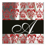 BLACK RED WHITE SILK DAMASK CLOTH MONOGRAM PERSONALIZED INVITATIONS